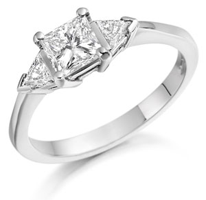 Contemporary Three Stone Diamond Ring in Platinum