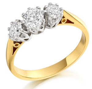 Yellow Gold Three Stone Diamond Ring