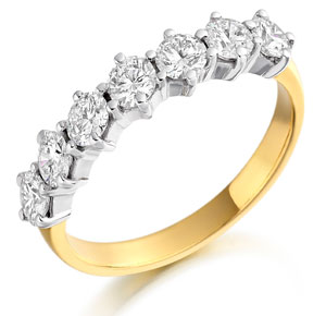 Diamond Half Set Eternity Ring yellow and white gold