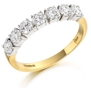 half set eternity ring in in 18 carat white & yellow gold