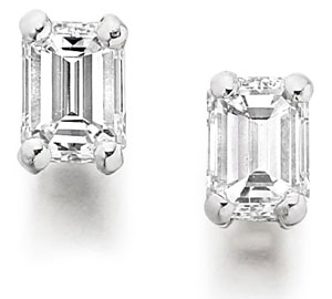 Emerald cut diamond solitaire earrings