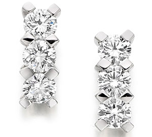 Diamond Three Stone Drop Earrings