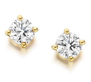 Yellow Gold Single Stone Diamond Earrings