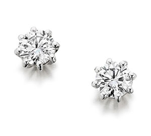 Round brilliant cut diamond solitaire earrings, eight claw settings