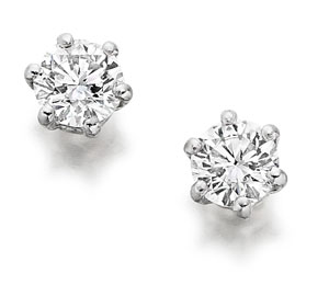 Platinum Single Stone Diamond Earrings