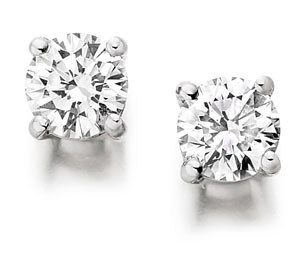 single stone diamond earrings in platinum