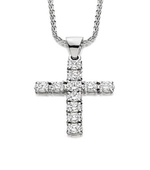 diamond set cross pendant