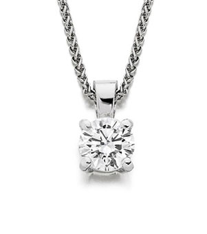 Round Diamond Solitaire Pendant 4 claws