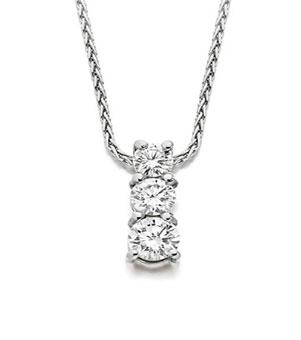Three stone graduated diamond pendant