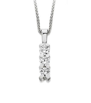 three stone diamond set drop pendant