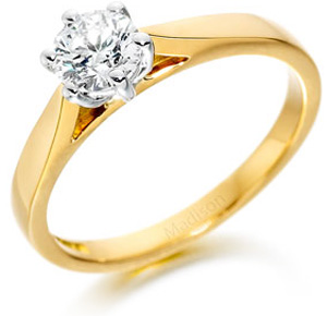 Yellow gold six claw engagement ring