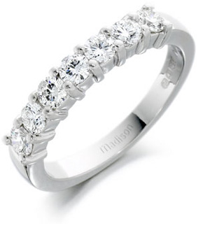 Half Set Diamond Eternity Ring in platinum