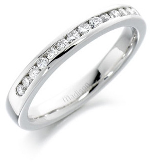 3 mm wide diamond half eternity ring or wedding band