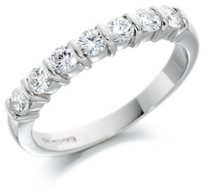 platinum bar set half eternity ring