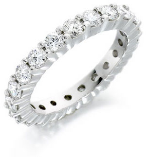 Claw Set Full Diamond Eternity Ring in platinum