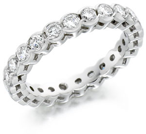 Bezel setting eternity ring