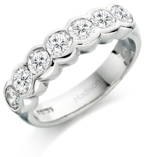 Bezel Setting Half Eternity Ring