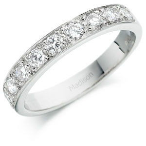 Grain Set Half Eternity Ring or Wedding Band