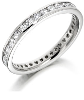 Platinum 3mm wide eternity ring or wedding ring