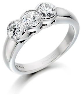 Three Stone Round Brilliant Cut Diamond Ring 9 Madison Jewellers