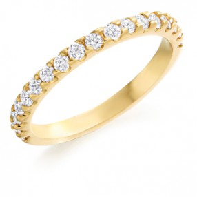 Diamond half eternity ring and wedding band