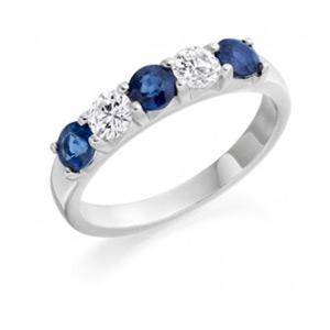 Sapphire & Diamond 5 Stone Ring