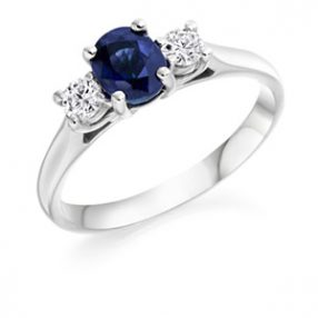 Platinum Three Stone Ring Sapphire & Diamond