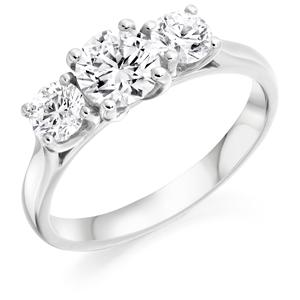 Three Stone Round Brilliant Cut Diamond Ring