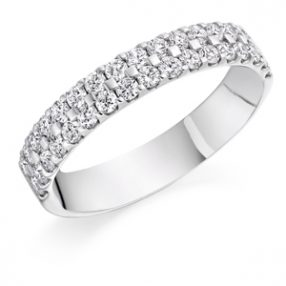 Double row half set eternity ring