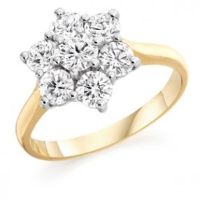 Yellow Gold Cluster Ring, Wedfit Ring (3)