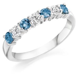 Half Eternity Ring Aquamarine & Diamond
