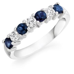 Diamond & sapphire 7 stone half eternity ring