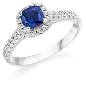 Sapphire & Diamond Halo Ring, Wedfit Ring