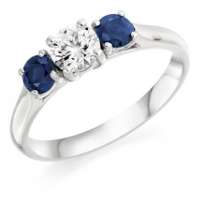Three Stone Diamond & Sapphire Wedfit Ring
