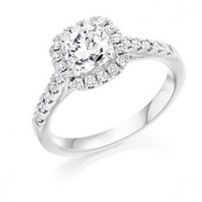 Cushion cut diamond Halo Ring, Wedfit Ring (1)
