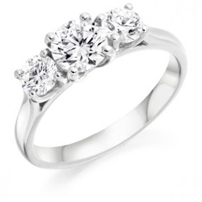 Three Stone Round Brilliant Cut Diamond Ring