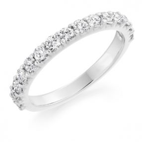 half diamond set wedding ring