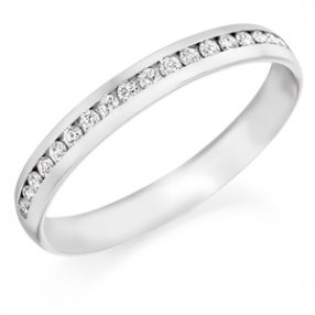3 mm wide diamond set wedding ring