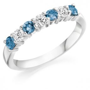 Half Eternity Ring Aquamarine & Diamond